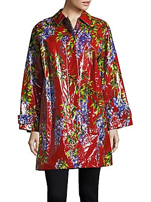 Collared Floral Raincoat