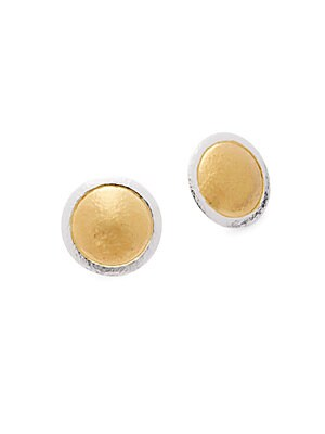 24K Yellow Gold-Plated Button Earrings
