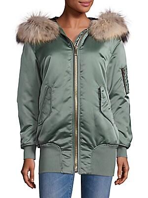 Avonshire Fur-Trimmed Long Satin Bomber Jacket