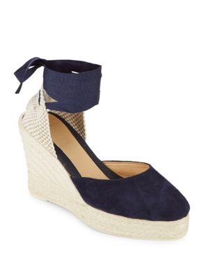 Low Wedge Leather Espadrille Sandals Manebi
