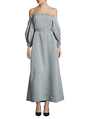 Linen Bubble Sleeve Off Shoulder Dress