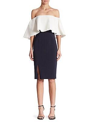 Colorblock Off-The-Shoulder Dress