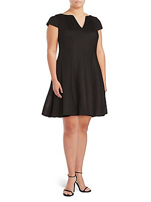 Cap Sleeves Fit & Flare Dress