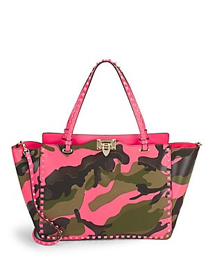 Studded Camouflage Tote Bag