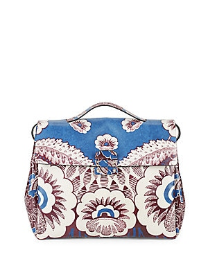 Floral-Motif Leather Handbag