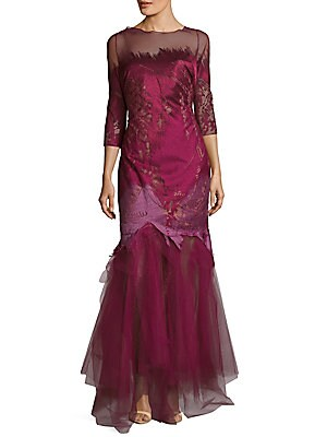 Illusion Burgundy Gown