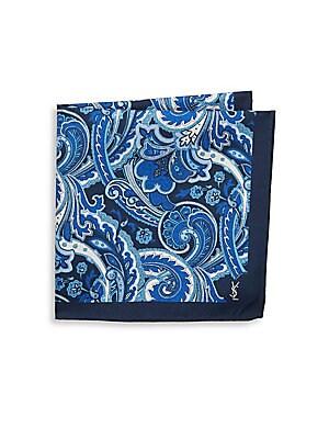 Paisley-Print Raw Silk Pocket Square