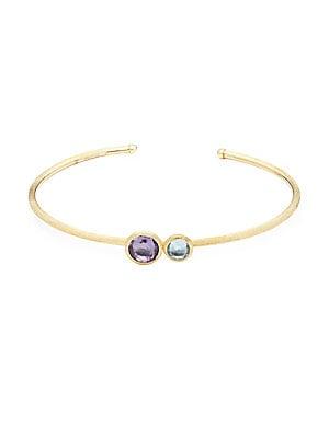 18K Yellow Gold Amethyst & Topaz Bangle Bracelet