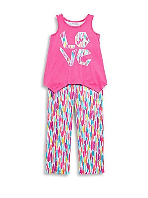 Girl's Two-Piece Racerback Tank Top & Pants Set