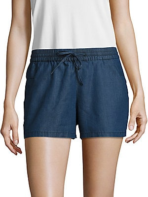 Chambray Drawstring Shorts