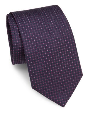 Dot Embroidered Raw Silk Tie