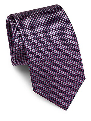 Herringbone Embroidered Raw Silk Tie