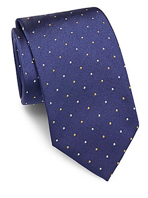 Dot-Motif Raw-Silk Tie