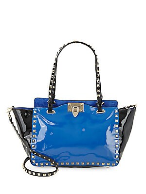 Rockstud Patent Leather Tote