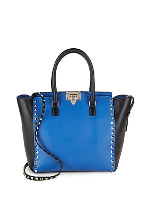 Colorblock Studded Leather Tote