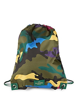Camo-Print Drawstring Backpack