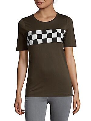 Checkered Stripe Graphic Tee