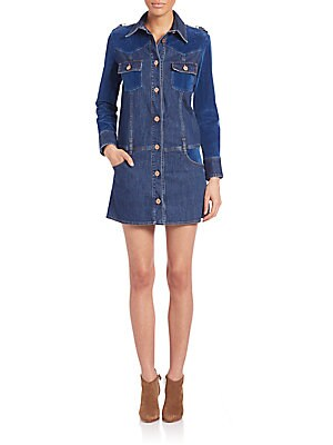 Long Sleeve Button Front Denim Dress