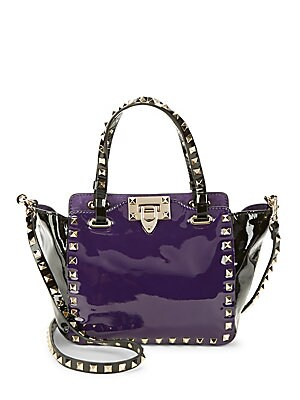 Rockstud Colorblock Patent Leather Tote