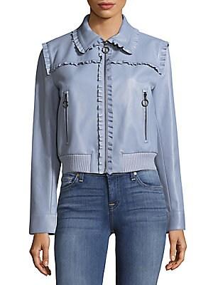 Ruffled Leather Jacket