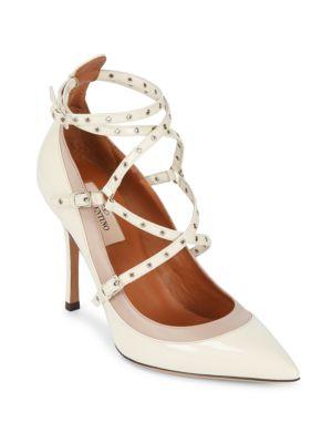 Point Toe Leather Ankle-Strap Pumps VALENTINO GARAVANI