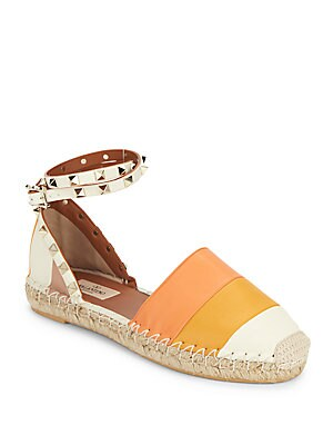 Striped Leather Espadrilles