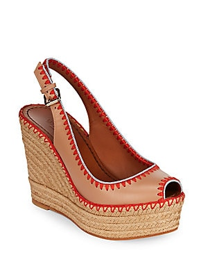 Wedge Leather Espadrille Sandals