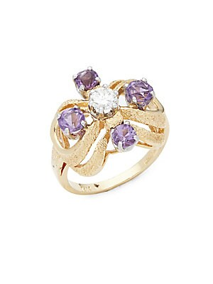 Click here for Amethyst  Diamond  18K Yellow & White Gold Ring prices