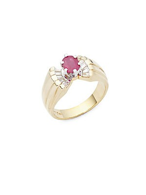 Click here for Diamond  Burma Ruby  14K Yellow & White Gold Ring prices