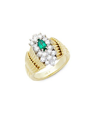 Click here for Diamond  Emerald  18K Yellow & White Gold Ring prices