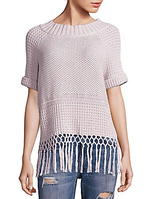 Peggy Fringe Hem Crochet Sweater