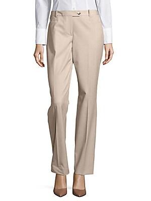Plaid Straight-Leg Dress Pants