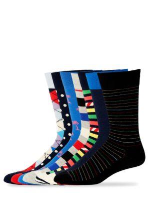 Printed Cotton Socks/Set of 7 Happy Socks