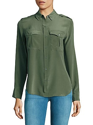 Long Sleeve Silk Military Shirt