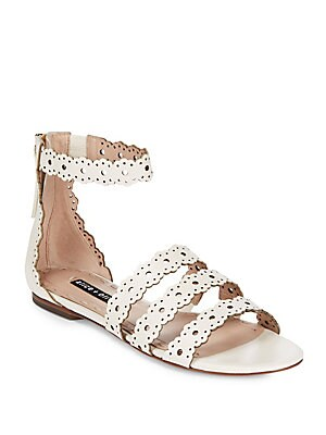 Penny Scalloped Leather Flat Sandals