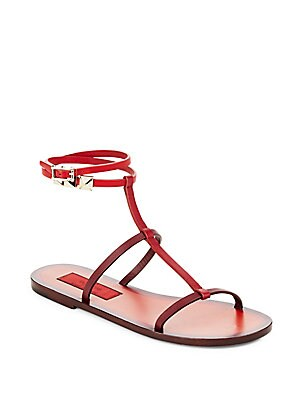 Faceted Detailed Leather Sandals