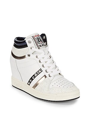 Studded Leather Wedge Sneakers