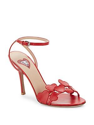 Heart Applique Leather Ankle Strap Sandals