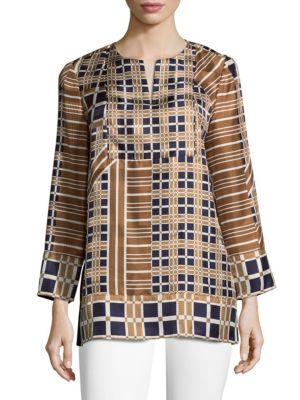 Long-sleeve Silk Plaid Top