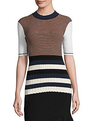 Rib-Knit Striped Dress