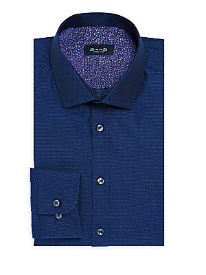 Dot-Print Cotton Dress Shirt