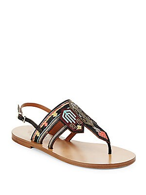 Embroidered Leather Thong Sandals