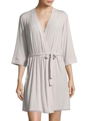 Solid Scalloped Lace-Trim Robe Addiction Nouvelle Lingerie