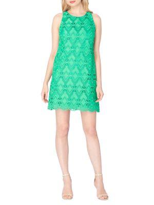 Scalloped Lace Shift Dress Tahari Arthur S. Levine