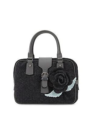 Floral Top-Handle Wool Handbag