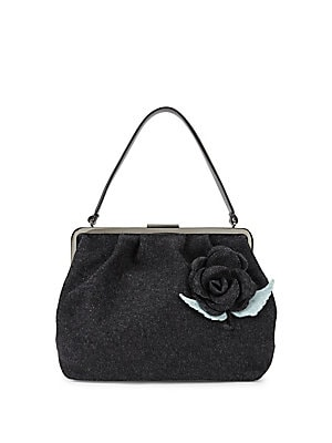 Rose Applique Wool Handbag