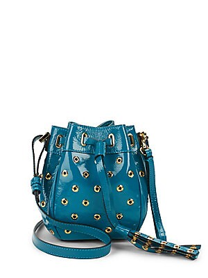 Eyelet Patent Leather Bucket Bag