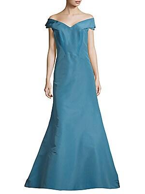 Pleated Floor-Length Silk Gown