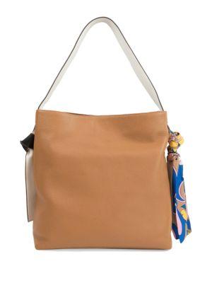 Cleo Scarf Leather Hobo Bag