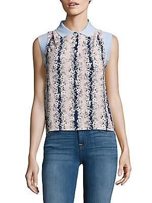Contrast-Collar Floral Top